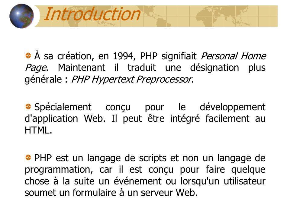 Introduction À sa création, en 1994, PHP signifiait Personal Home Page. Maintenant il traduit une désignation plus générale : PHP Hypertext Preprocess