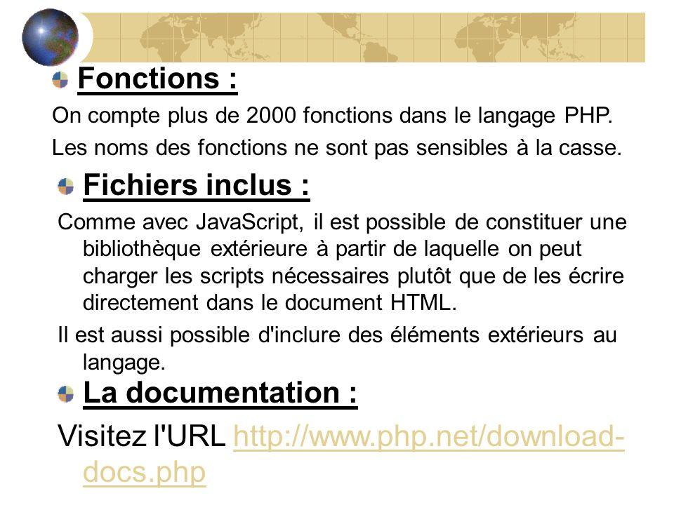 Fonctions : On compte plus de 2000 fonctions dans le langage PHP. Les noms des fonctions ne sont pas sensibles à la casse. Fichiers inclus : Comme ave