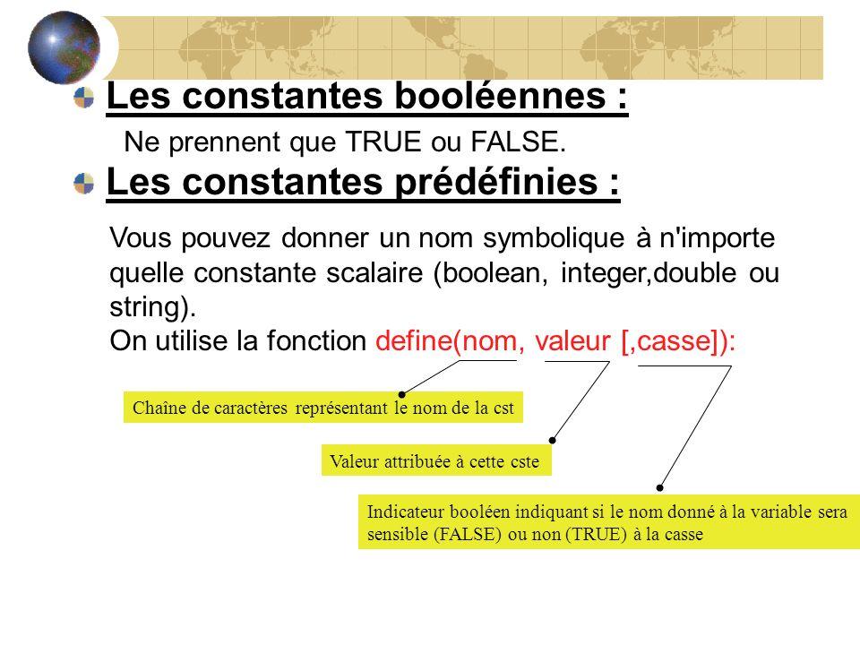 Les constantes booléennes : Vous pouvez donner un nom symbolique à n'importe quelle constante scalaire (boolean, integer,double ou string). On utilise