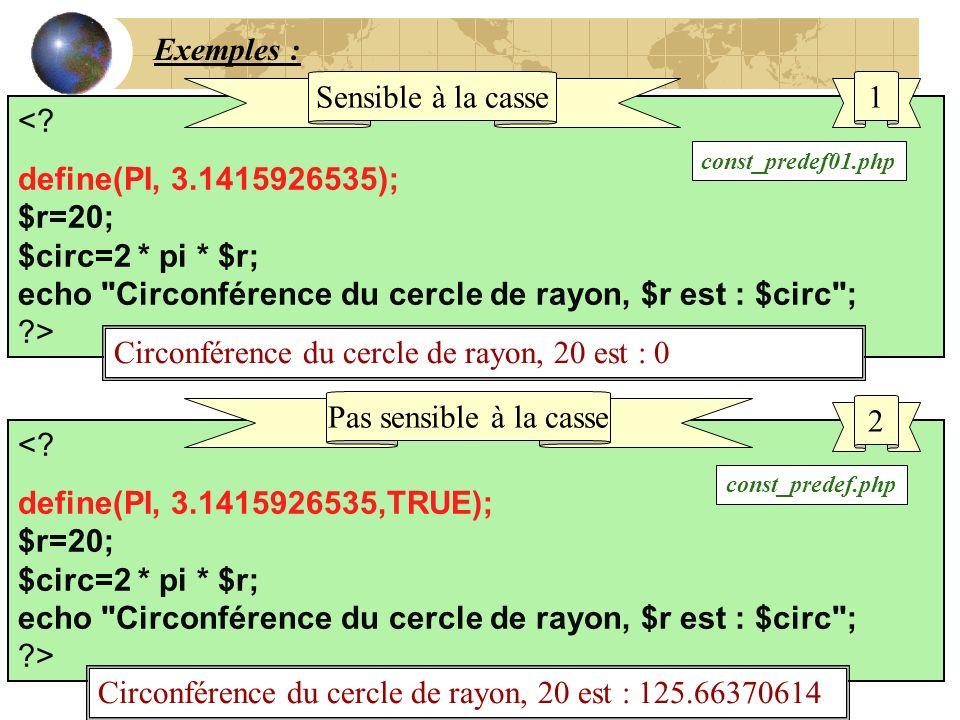 Exemples : <? define(PI, 3.1415926535); $r=20; $circ=2 * pi * $r; echo