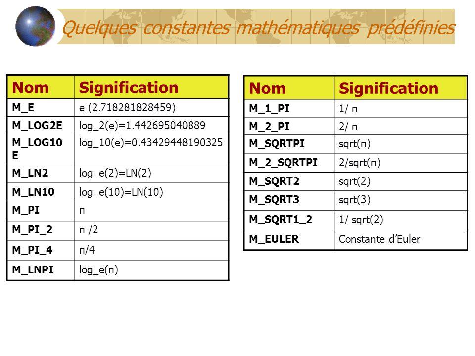 NomSignification M_Ee (2.718281828459) M_LOG2Elog_2(e)=1.442695040889 M_LOG10 E log_10(e)=0.43429448190325 M_LN2log_e(2)=LN(2) M_LN10log_e(10)=LN(10)