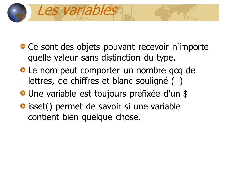 Les variables Ce sont des objets pouvant recevoir n'importe quelle valeur sans distinction du type. Le nom peut comporter un nombre qcq de lettres, de