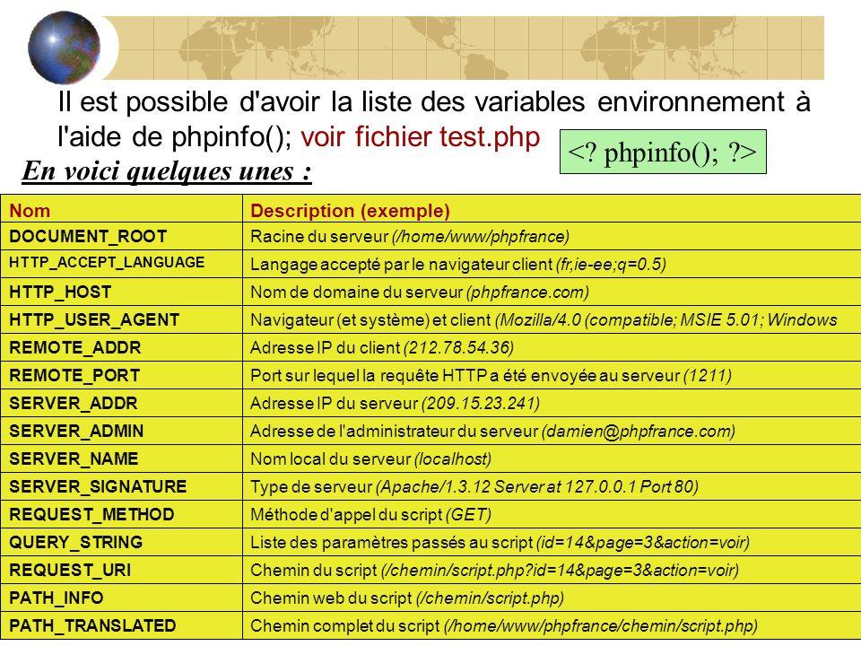 Il est possible d'avoir la liste des variables environnement à l'aide de phpinfo(); voir fichier test.php NomDescription (exemple) DOCUMENT_ROOTRacine