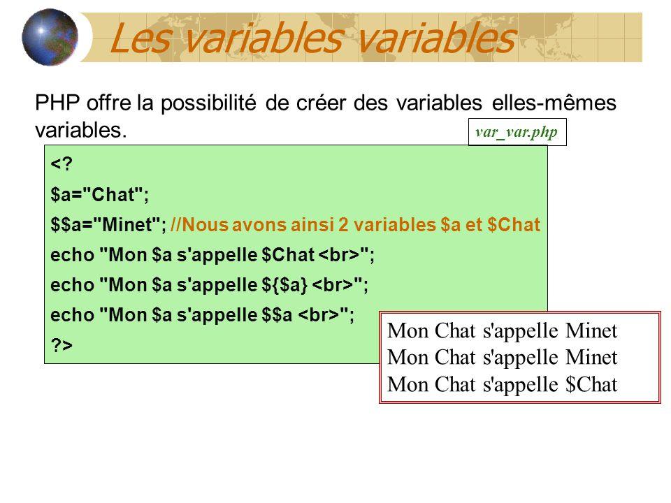Les variables variables PHP offre la possibilité de créer des variables elles-mêmes variables.