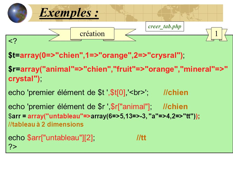 Exemples : <? $t=array(0=>
