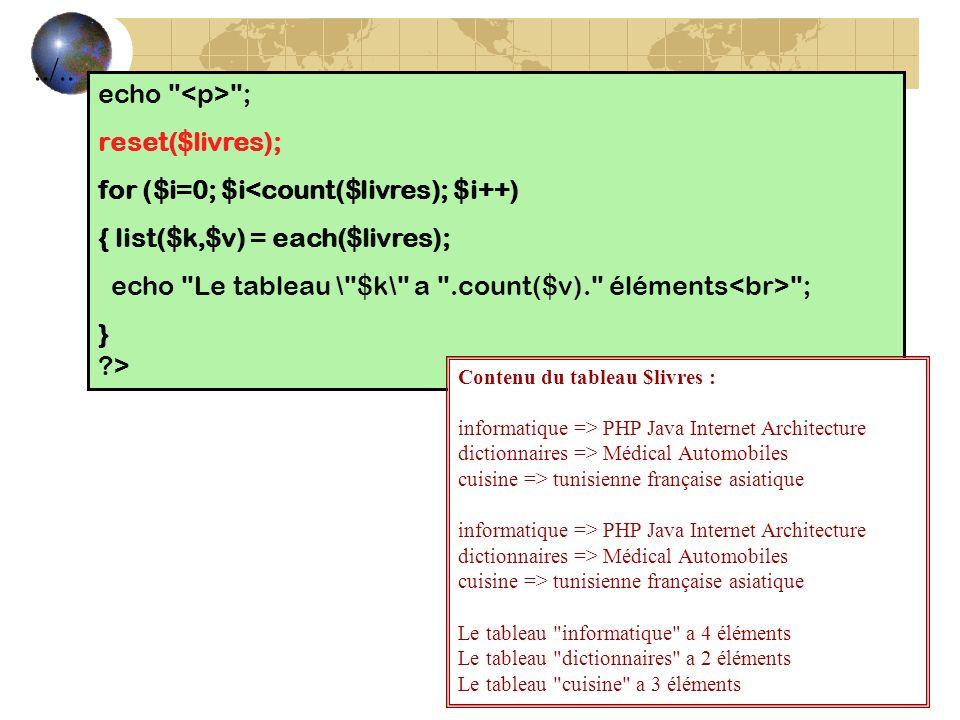 echo ; reset($livres); for ($i=0; $i<count($livres); $i++) { list($k,$v) = each($livres); echo Le tableau \ $k\ a .count($v). éléments ; } ?>../..