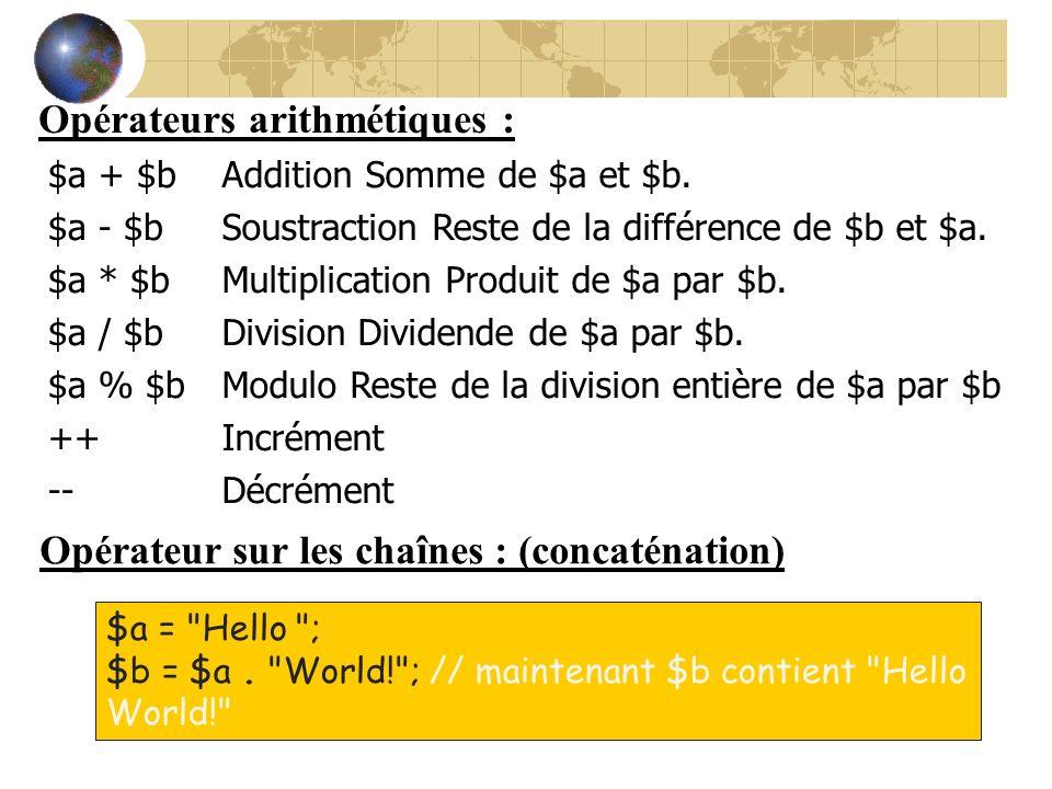 Opérateurs arithmétiques : Opérateur sur les chaînes : (concaténation) $a =