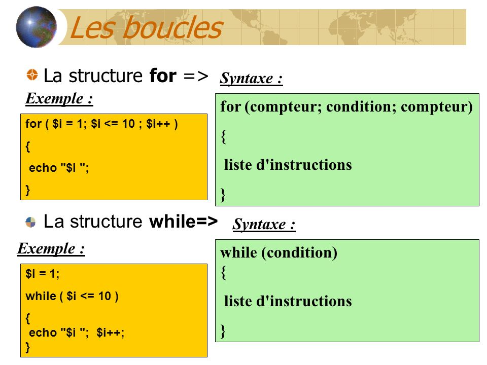 Les boucles La structure for => for (compteur; condition; compteur) { liste d'instructions } for ( $i = 1; $i <= 10 ; $i++ ) { echo