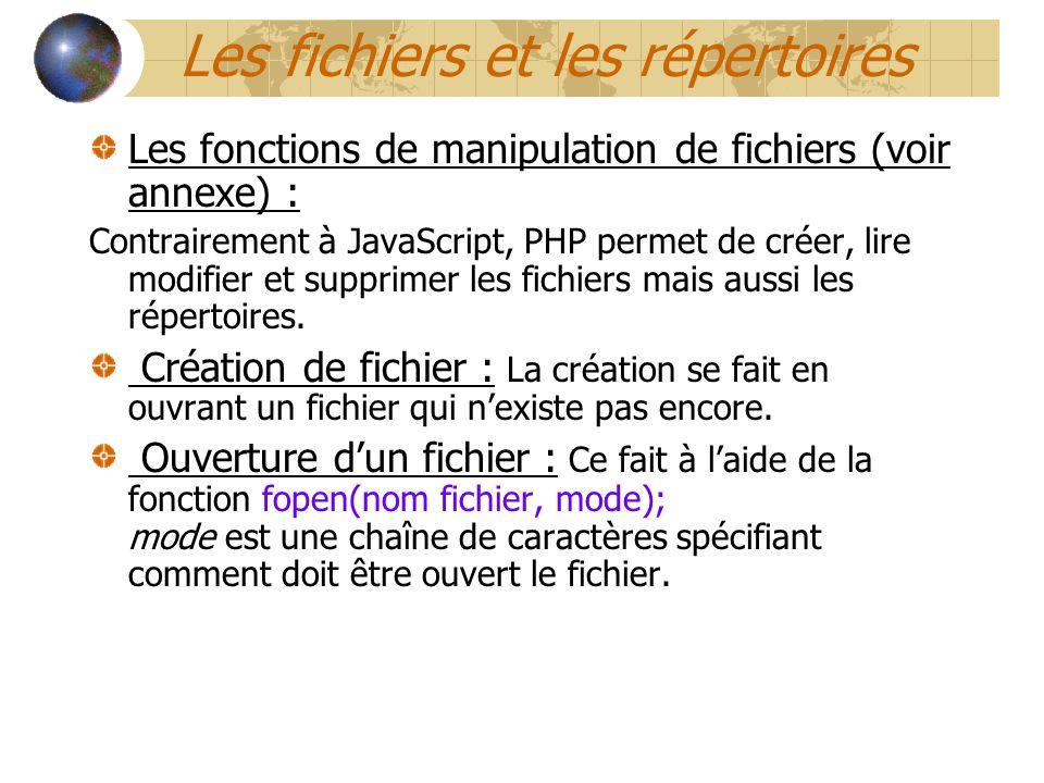 Les fonctions de manipulation de fichiers (voir annexe) : Contrairement à JavaScript, PHP permet de créer, lire modifier et supprimer les fichiers mai