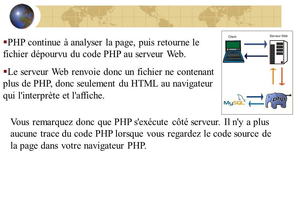 PHP continue à analyser la page, puis retourne le fichier dépourvu du code PHP au serveur Web. Le serveur Web renvoie donc un fichier ne contenant plu