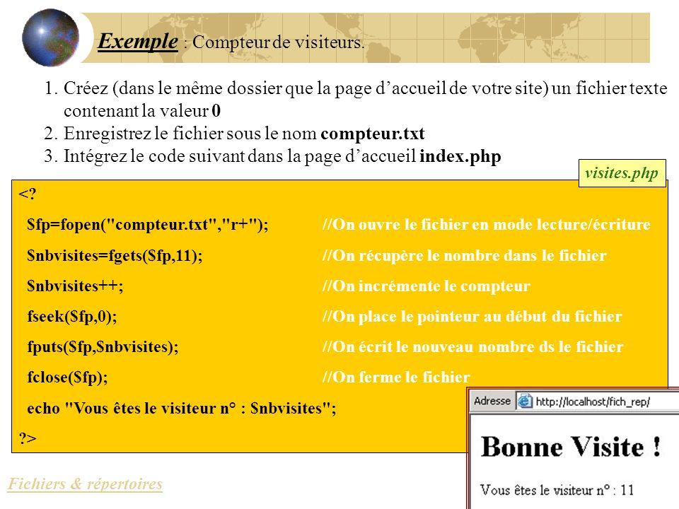 Exemple : Compteur de visiteurs. 1.Créez (dans le même dossier que la page daccueil de votre site) un fichier texte contenant la valeur 0 2.Enregistre