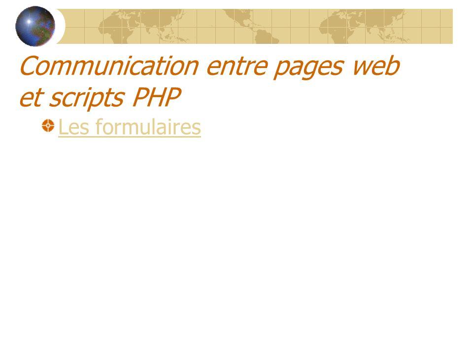 Communication entre pages web et scripts PHP Les formulaires