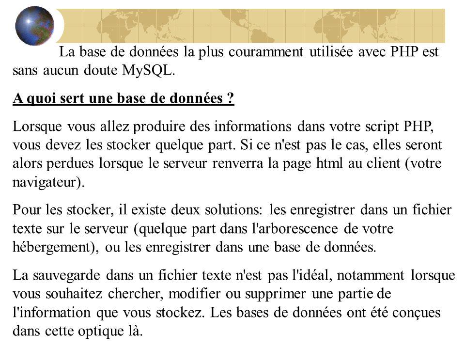 La base de données la plus couramment utilisée avec PHP est sans aucun doute MySQL. A quoi sert une base de données ? Lorsque vous allez produire des
