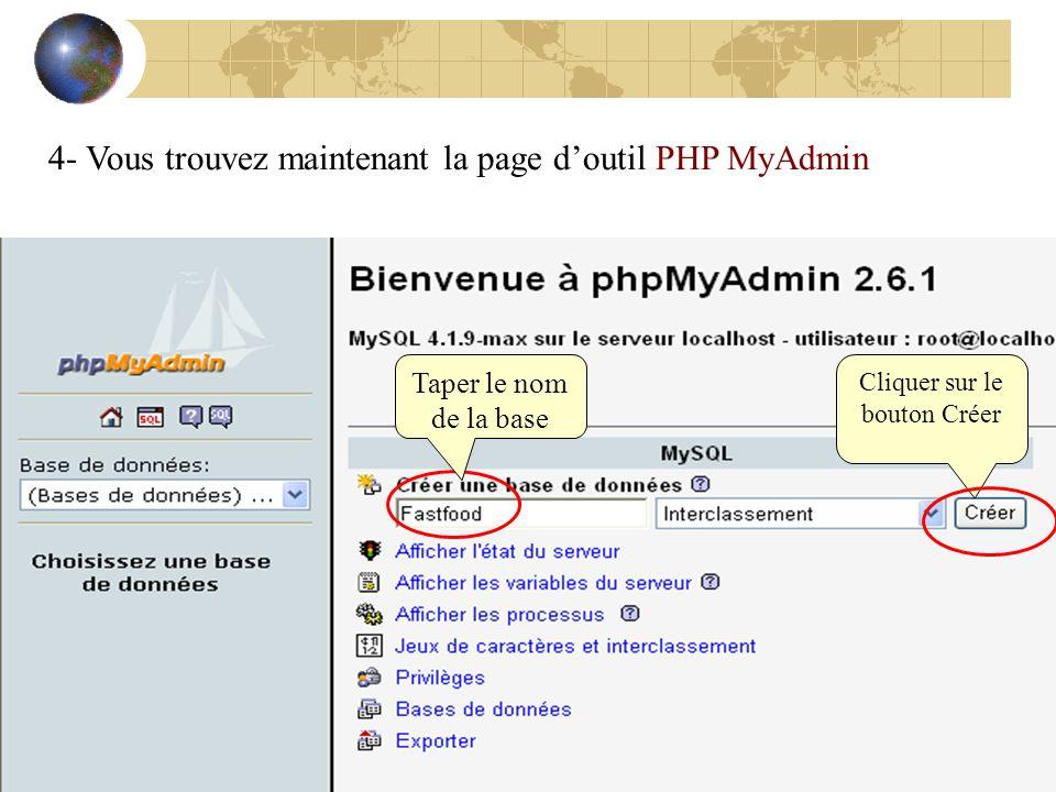 4- Vous trouvez maintenant la page doutil PHP MyAdmin Taper le nom de la base Cliquer sur le bouton Créer