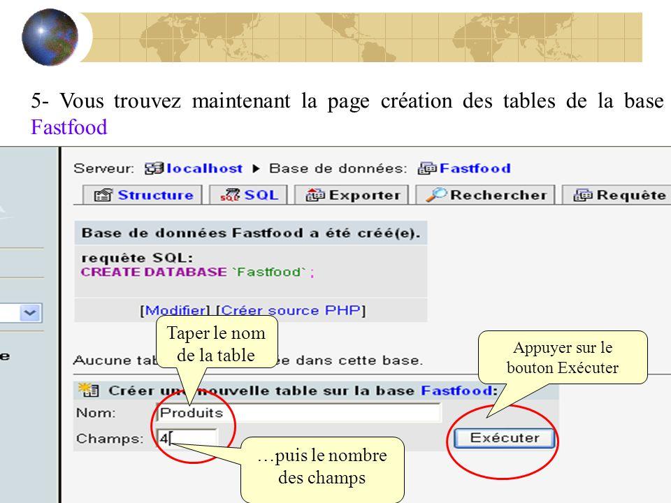 5- Vous trouvez maintenant la page création des tables de la base Fastfood Taper le nom de la table …puis le nombre des champs Appuyer sur le bouton E