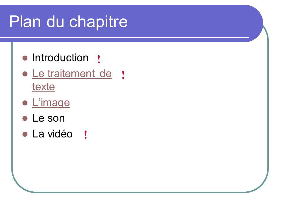 Plan du chapitre Introduction Le traitement de texte Le traitement de texte Limage Le son La vidéo
