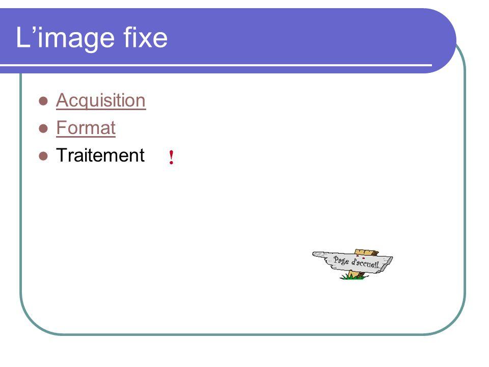 Limage fixe Acquisition Format Traitement