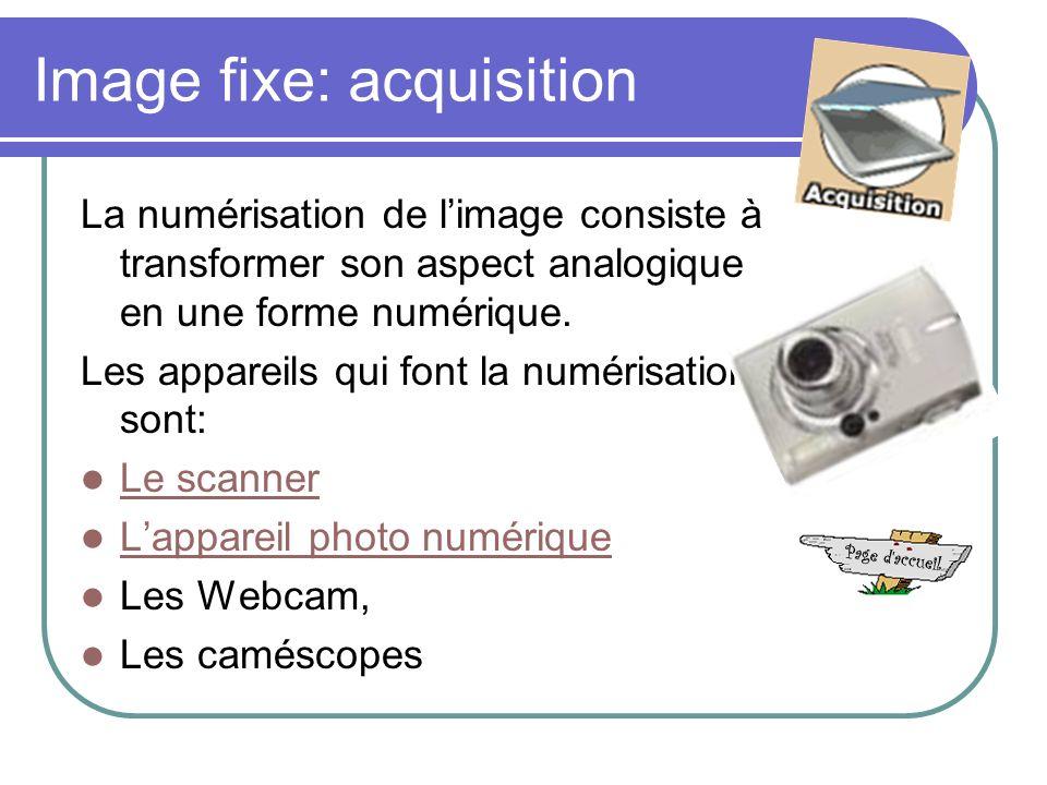 Image fixe: acquisition La numérisation de limage consiste à transformer son aspect analogique en une forme numérique.