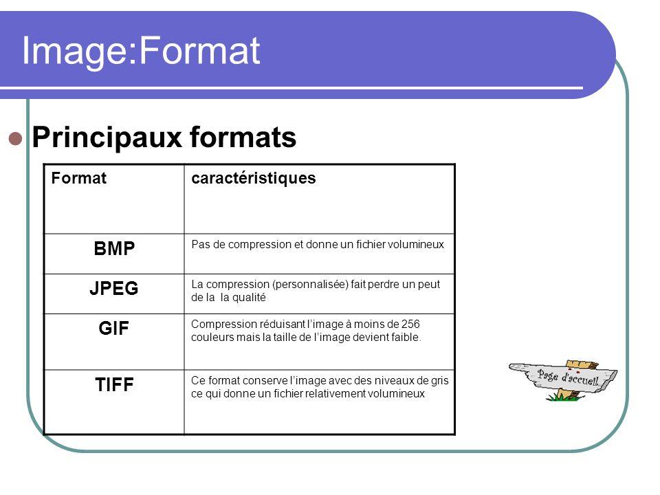 Image:Format Formatcaractéristiques BMP Pas de compression et donne un fichier volumineux JPEG La compression (personnalisée) fait perdre un peut de la la qualité GIF Compression réduisant limage à moins de 256 couleurs mais la taille de limage devient faible.