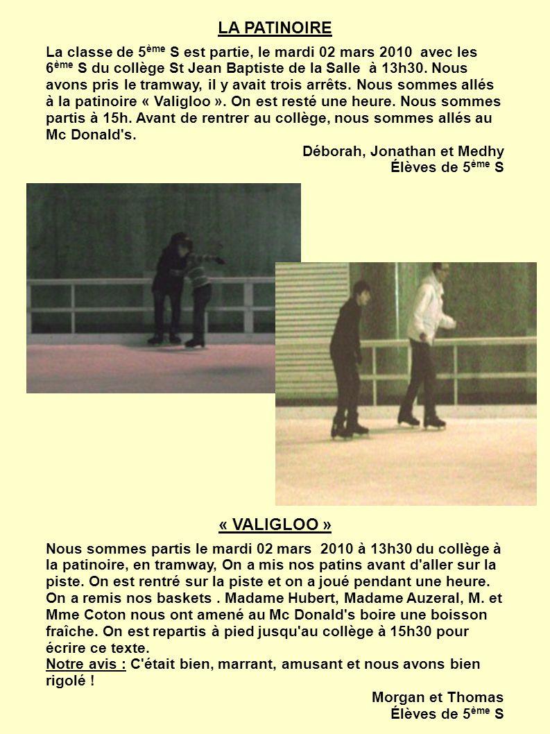 NOTRE APRES-MIDI Nous sommes partis du collège St Jean Baptiste avec les 6 ème S à 13h30, le mardi 02 mars 2010, pour aller à la patinoire en tramway.