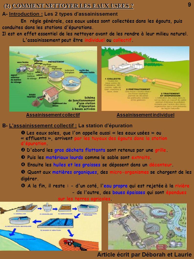 (2) COMMENT NETTOYER LES EAUX USEES ? (2) COMMENT NETTOYER LES EAUX USEES ? A- Introduction : Les 2 types d'assainissement En règle générale, ces eaux