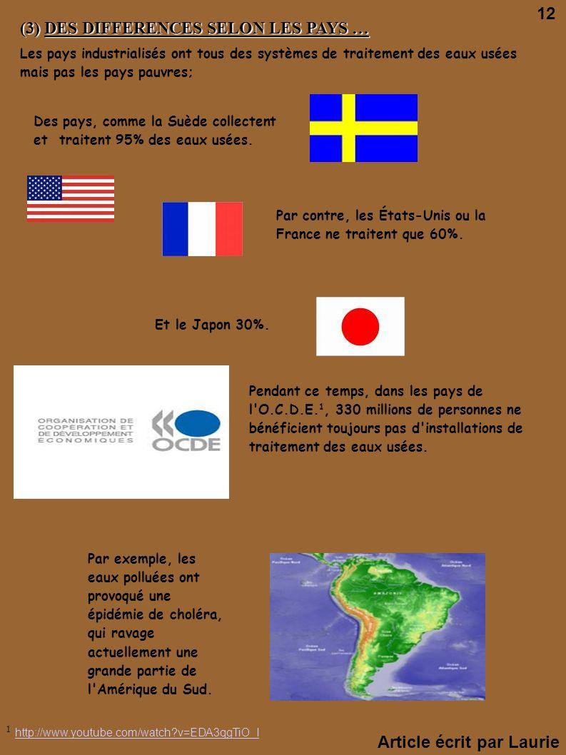 (3) DES DIFFERENCES SELON LES PAYS … Les pays industrialisés ont tous des systèmes de traitement des eaux usées mais pas les pays pauvres; Des pays, c