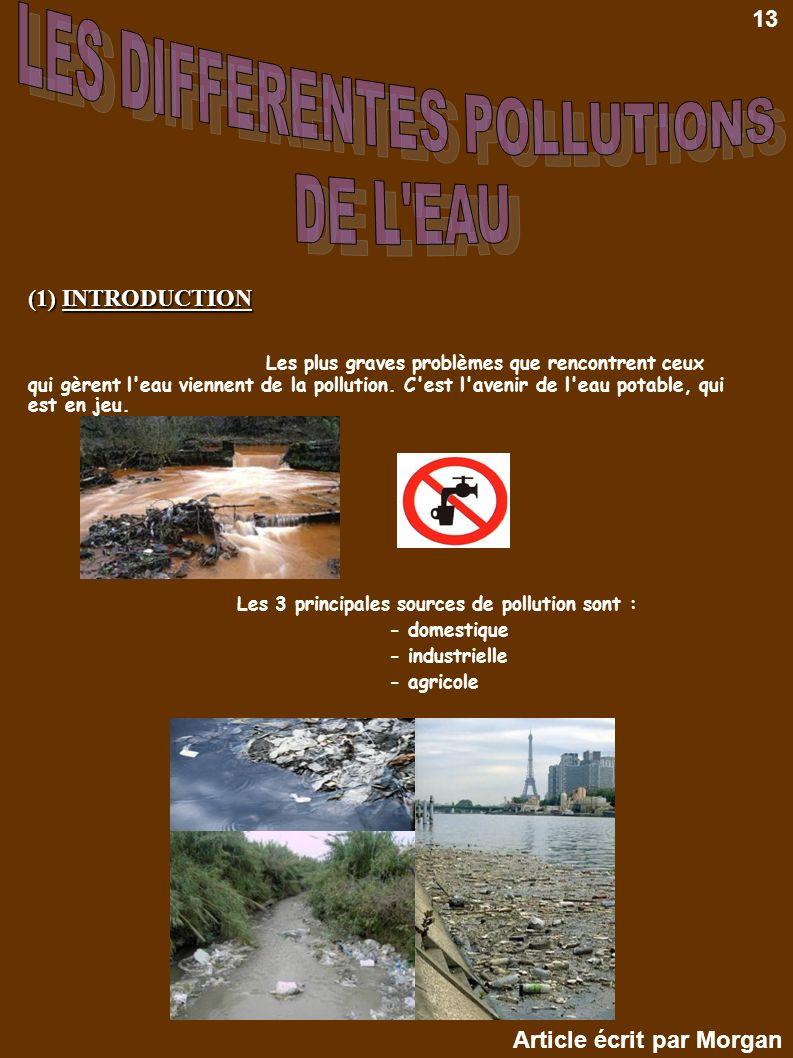 (1) INTRODUCTION Les plus graves problèmes que rencontrent ceux qui gèrent l'eau viennent de la pollution. C'est l'avenir de l'eau potable, qui est en