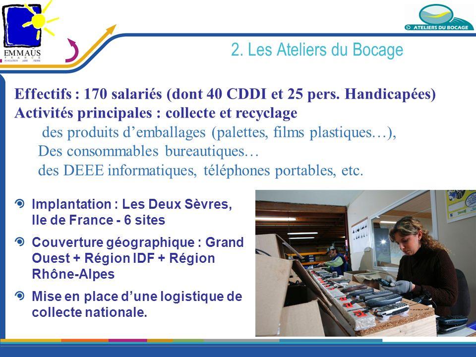 2. Les Ateliers du Bocage Implantation : Les Deux Sèvres, Ile de France - 6 sites Couverture géographique : Grand Ouest + Région IDF + Région Rhône-Al