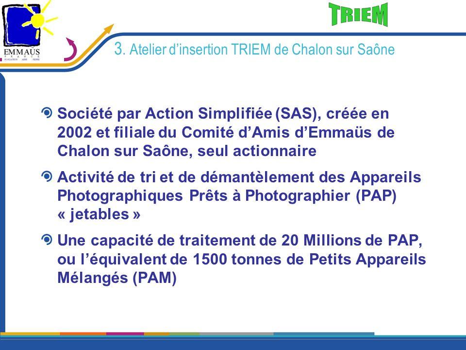 3. Atelier dinsertion TRIEM de Chalon sur Saône Société par Action Simplifiée (SAS), créée en 2002 et filiale du Comité dAmis dEmmaüs de Chalon sur Sa