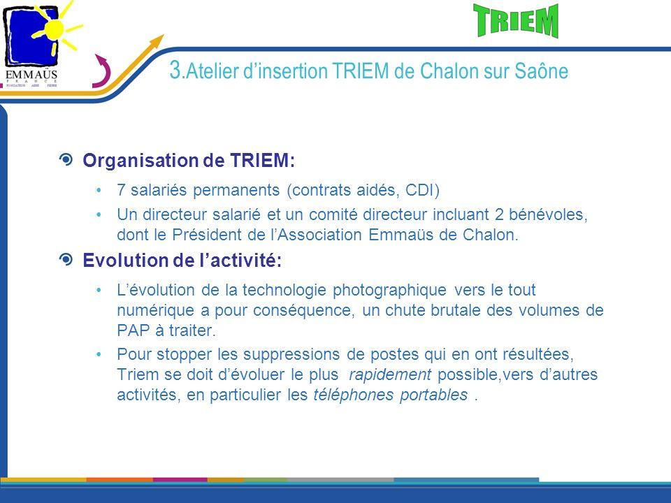 3.Atelier dinsertion TRIEM de Chalon sur Saône Organisation de TRIEM: 7 salariés permanents (contrats aidés, CDI) Un directeur salarié et un comité di