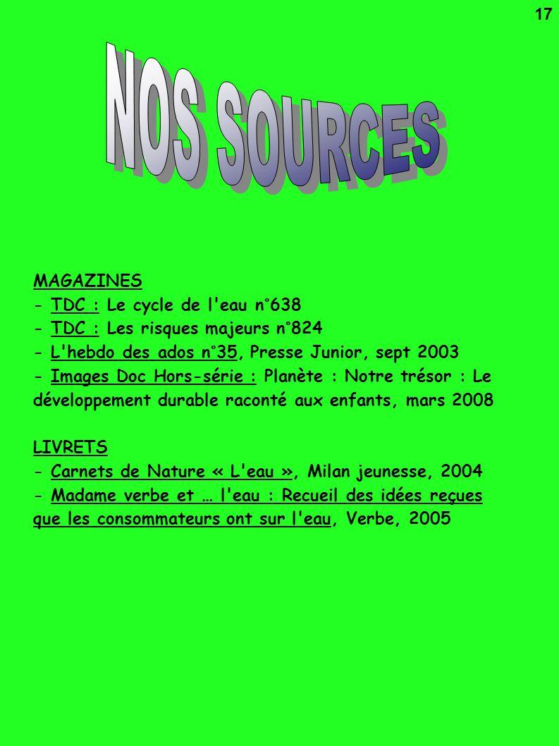 MAGAZINES - TDC : Le cycle de l'eau n°638 - TDC : Les risques majeurs n°824 - L'hebdo des ados n°35, Presse Junior, sept 2003 - Images Doc Hors-série