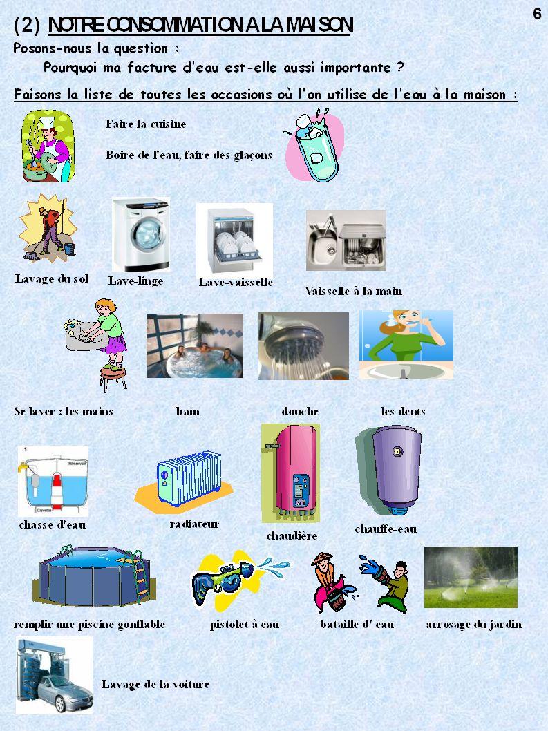 EN RESUME A la maison, on consomme environ 150 litres d eau (environ un bain) par personne et par jour.