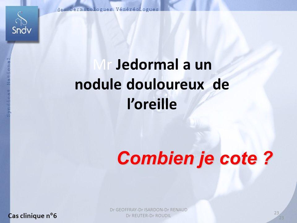 23 Dr GEOFFRAY-Dr ISARDON-Dr RENAUD Dr REUTER-Dr ROUDIL Mr Jedormal a un nodule douloureux de loreille Combien je cote ? Cas clinique n°6 23