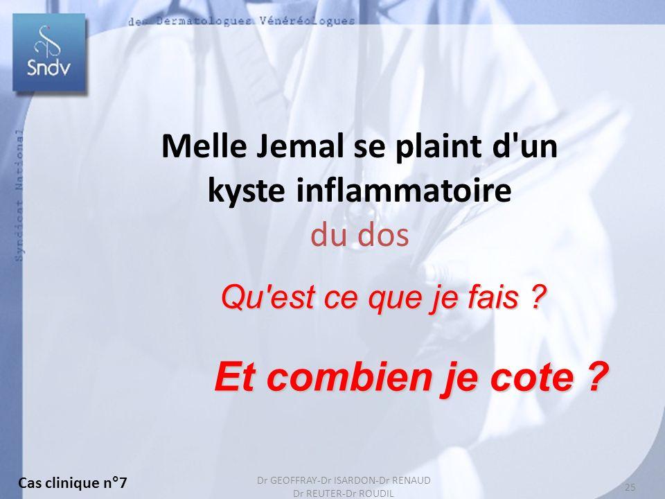 Dr GEOFFRAY-Dr ISARDON-Dr RENAUD Dr REUTER-Dr ROUDIL 25 Melle Jemal se plaint d'un kyste inflammatoire du dos Et combien je cote ? Qu'est ce que je fa