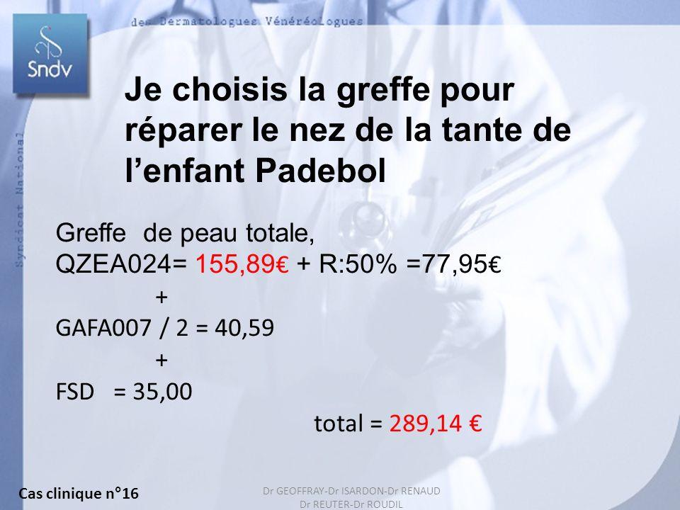 46 Je choisis la greffe pour réparer le nez de la tante de lenfant Padebol Greffe de peau totale, QZEA024= 155,89 + R:50% =77,95 + GAFA007 / 2 = 40,59 + FSD = 35,00 total = 289,14 Cas clinique n°16 Dr GEOFFRAY-Dr ISARDON-Dr RENAUD Dr REUTER-Dr ROUDIL