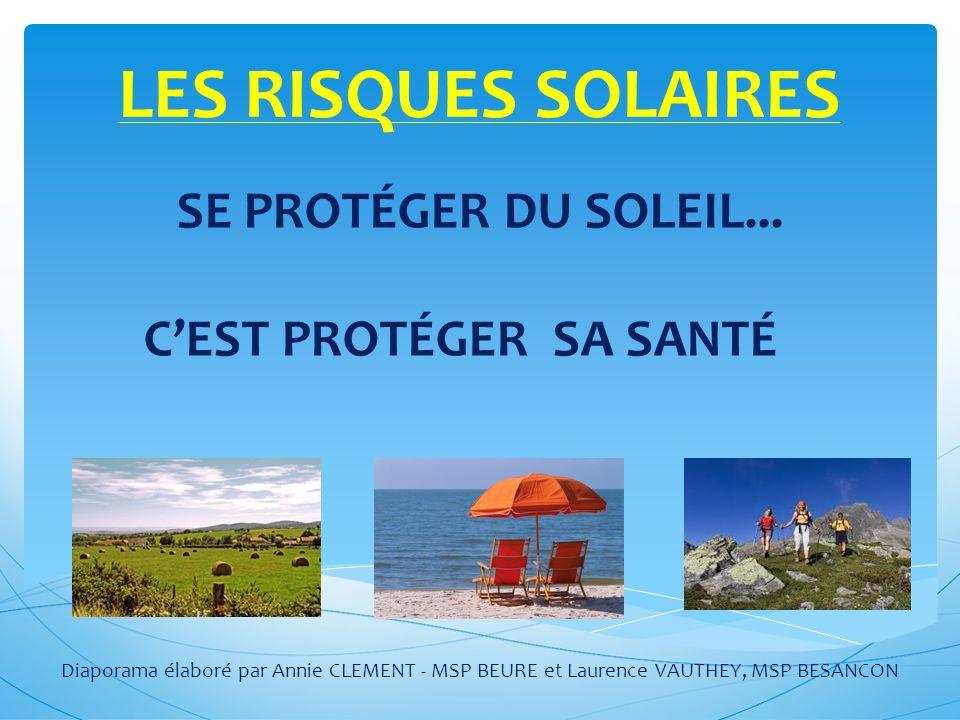 LES RISQUES SOLAIRES SE PROTÉGER DU SOLEIL...