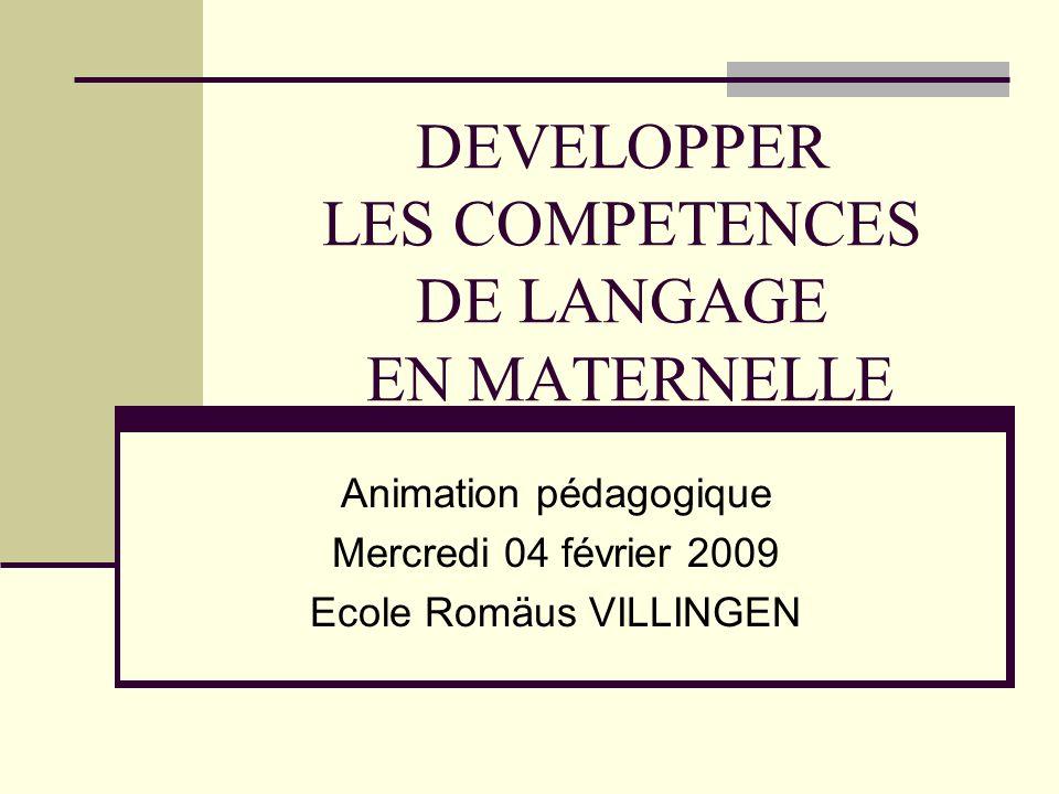 DEVELOPPER LES COMPETENCES DE LANGAGE EN MATERNELLE Animation pédagogique Mercredi 04 février 2009 Ecole Romäus VILLINGEN