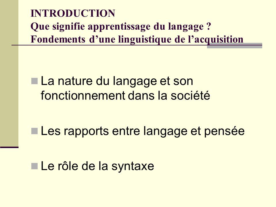 INTRODUCTION Que signifie apprentissage du langage ? Fondements dune linguistique de lacquisition La nature du langage et son fonctionnement dans la s