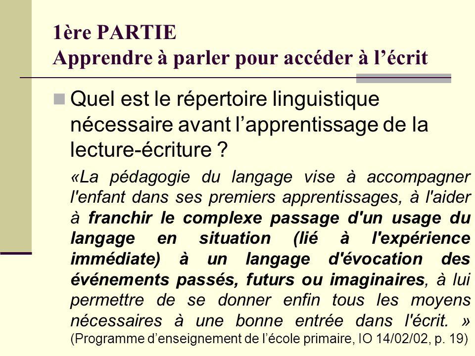 1ère PARTIE Apprendre à parler pour accéder à lécrit Quel est le répertoire linguistique nécessaire avant lapprentissage de la lecture-écriture ? «La