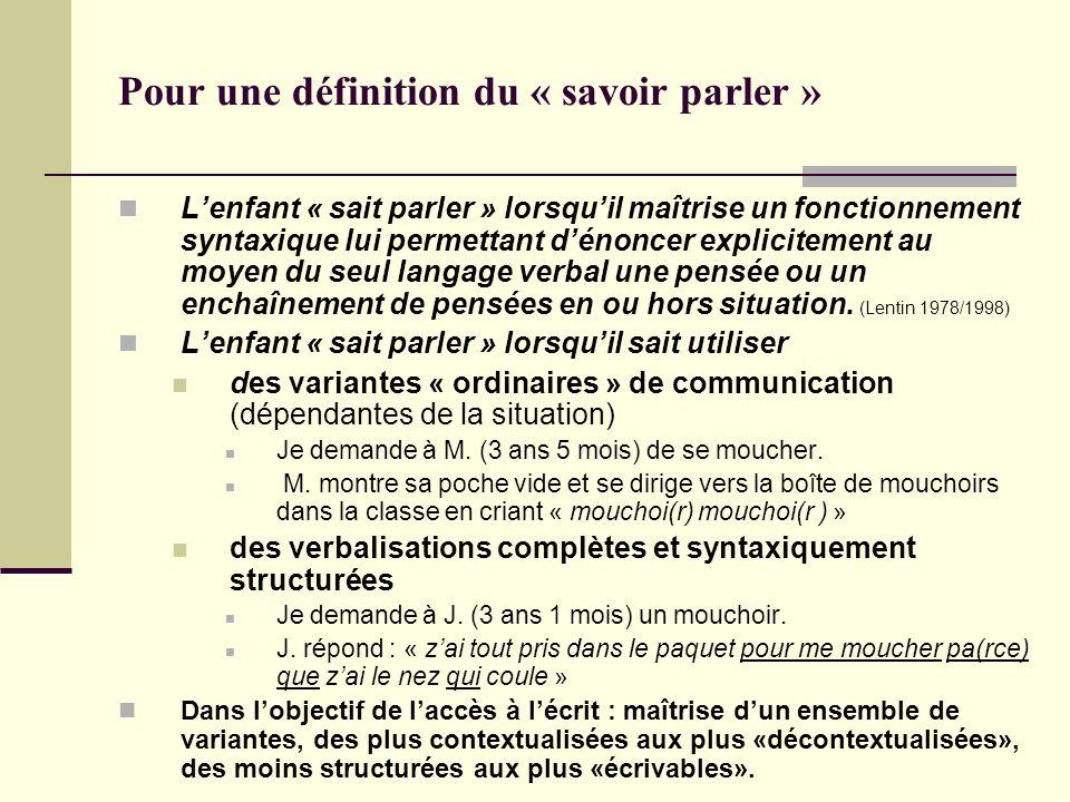 Pour une définition du « savoir parler » Lenfant « sait parler » lorsquil maîtrise un fonctionnement syntaxique lui permettant dénoncer explicitement