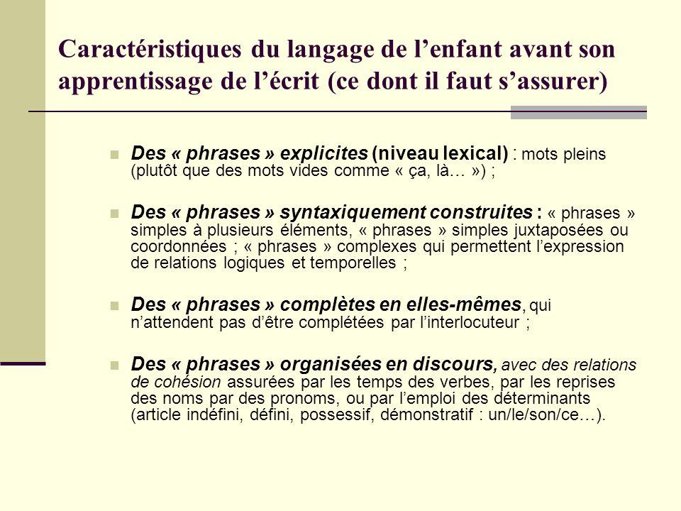 Caractéristiques du langage de lenfant avant son apprentissage de lécrit (ce dont il faut sassurer) Des « phrases » explicites (niveau lexical) : mots