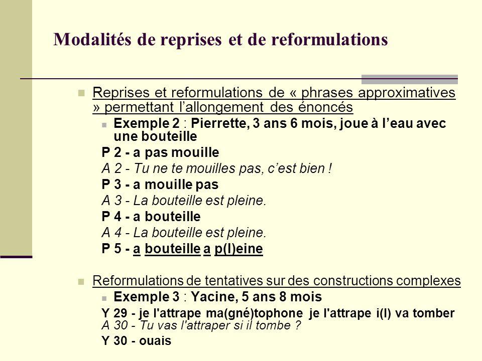 Modalités de reprises et de reformulations Reprises et reformulations de « phrases approximatives » permettant lallongement des énoncés Exemple 2 : Pi