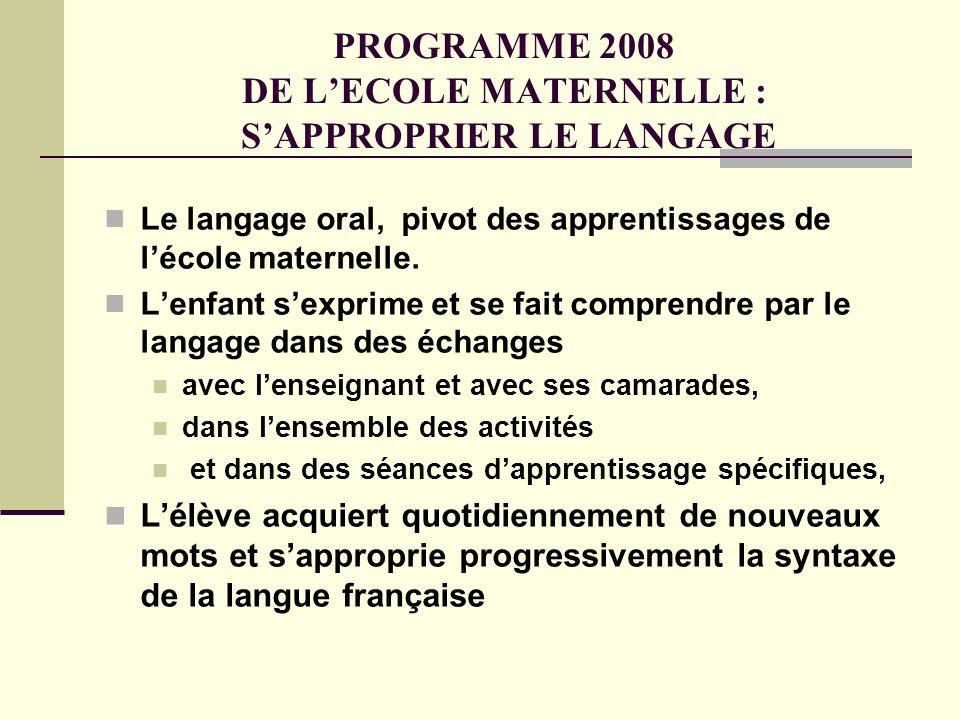 PROGRAMME 2008 DE LECOLE MATERNELLE : SAPPROPRIER LE LANGAGE Le langage oral, pivot des apprentissages de lécole maternelle. Lenfant sexprime et se fa