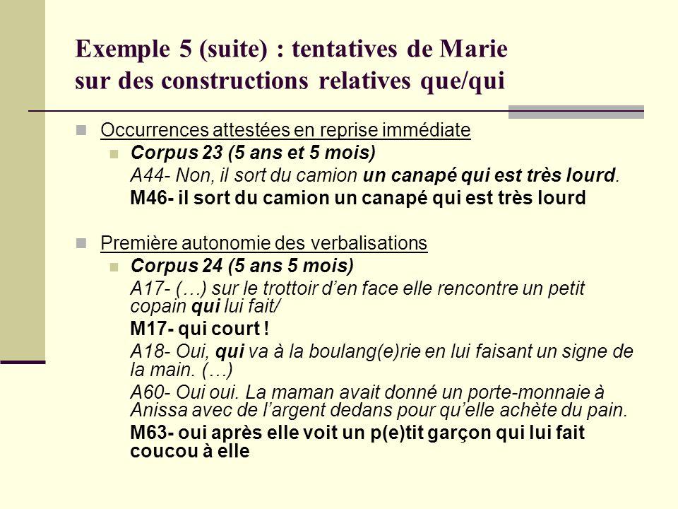Exemple 5 (suite) : tentatives de Marie sur des constructions relatives que/qui Occurrences attestées en reprise immédiate Corpus 23 (5 ans et 5 mois)
