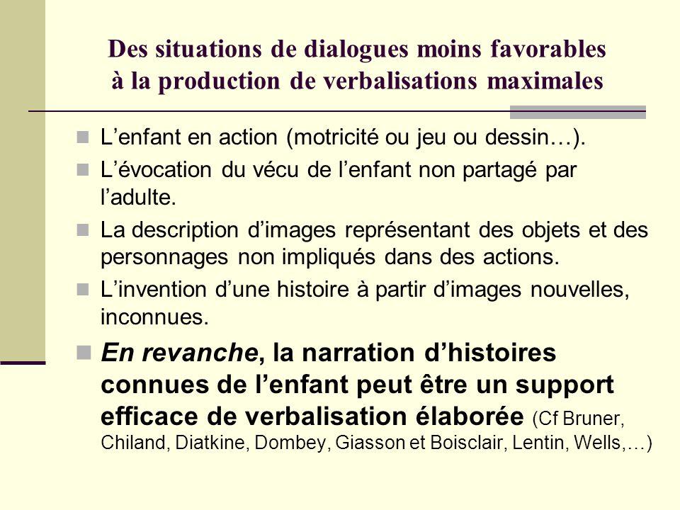Des situations de dialogues moins favorables à la production de verbalisations maximales Lenfant en action (motricité ou jeu ou dessin…). Lévocation d