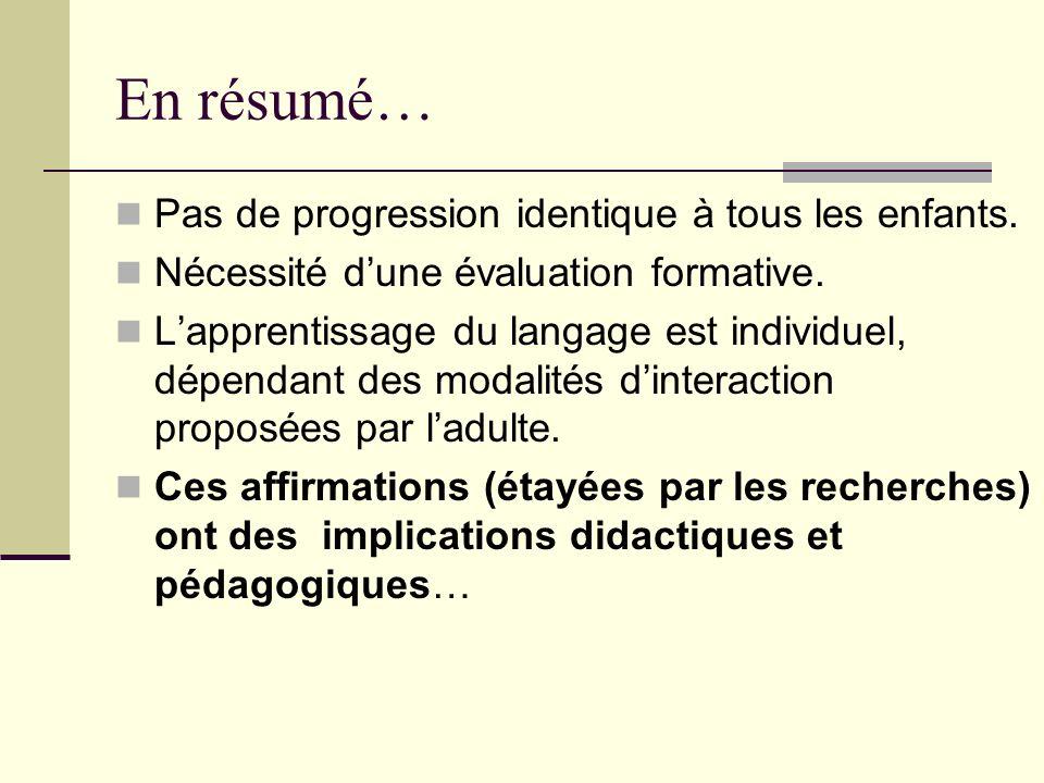 En résumé… Pas de progression identique à tous les enfants. Nécessité dune évaluation formative. Lapprentissage du langage est individuel, dépendant d