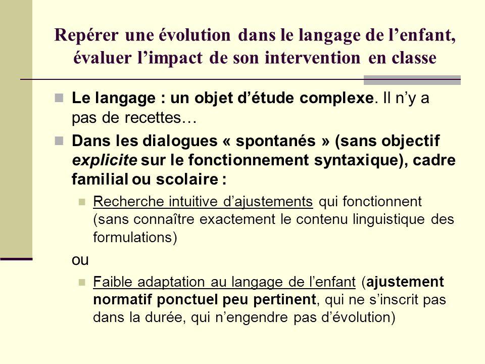Repérer une évolution dans le langage de lenfant, évaluer limpact de son intervention en classe Le langage : un objet détude complexe. Il ny a pas de