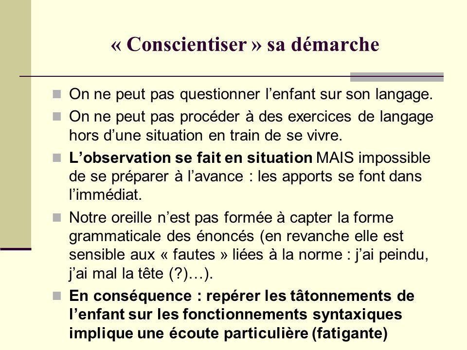 « Conscientiser » sa démarche On ne peut pas questionner lenfant sur son langage. On ne peut pas procéder à des exercices de langage hors dune situati