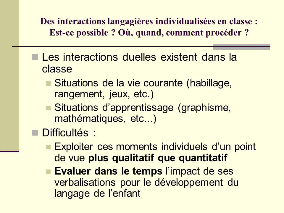 Des interactions langagières individualisées en classe : Est-ce possible ? Où, quand, comment procéder ? Les interactions duelles existent dans la cla