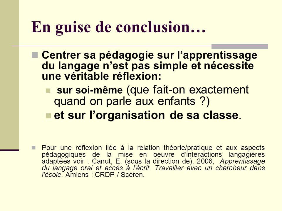 En guise de conclusion… Centrer sa pédagogie sur lapprentissage du langage nest pas simple et nécessite une véritable réflexion: sur soi-même (que fai